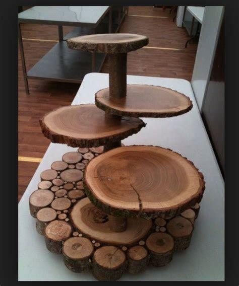 Wood slab cake or dessert stand   Rustic Woodsy Wedding