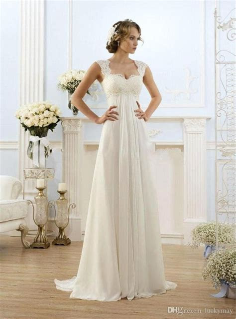 Cheap Vintage Modest Wedding Gowns Capped Sleeves Empire