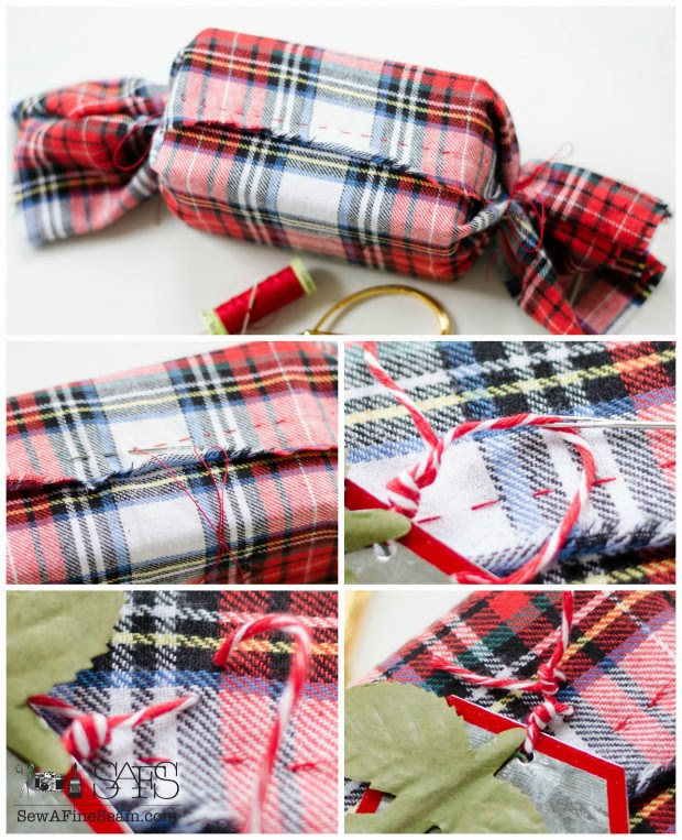 plaid fabric handstitched around a christmas package