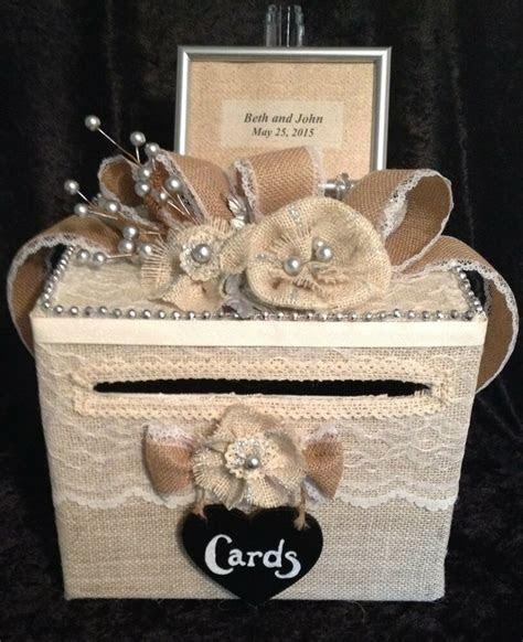 rustic wedding card box,money holder,handmade burlap