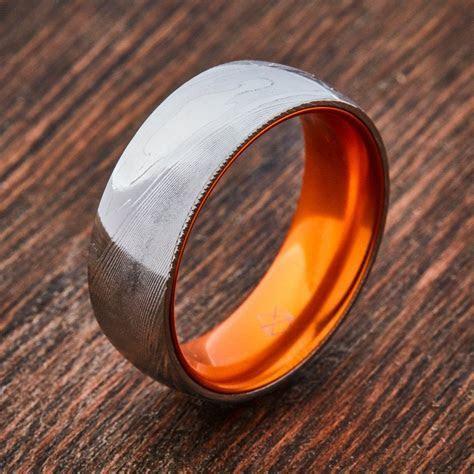 Wood Grain Damascus Steel Ring   Resilient Orange   I've