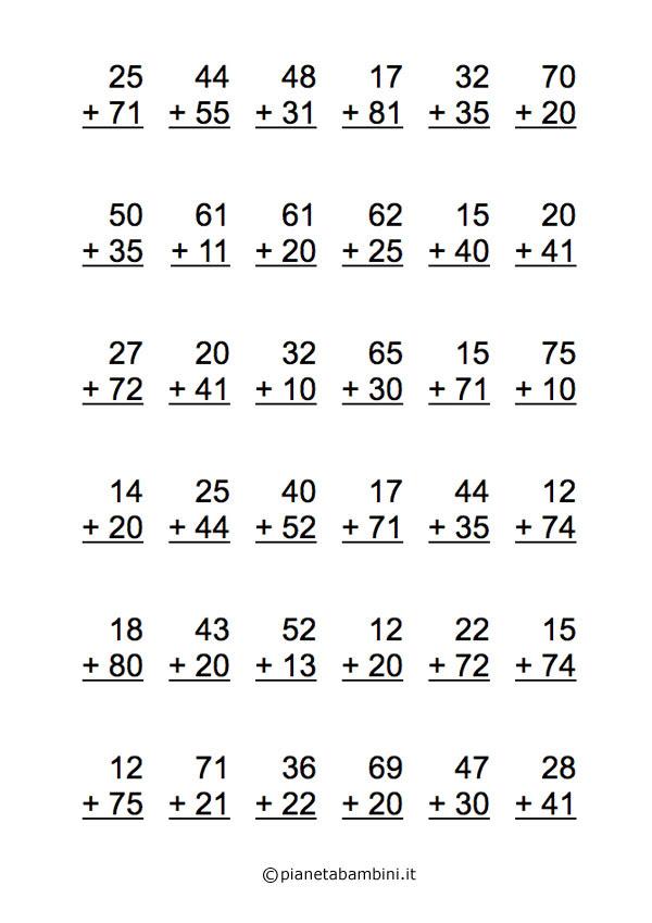 Esercizi di Matematica: Addizioni per Scuola Elementare da ...