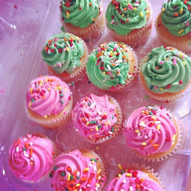 Pink and green sprinkled cupcakes