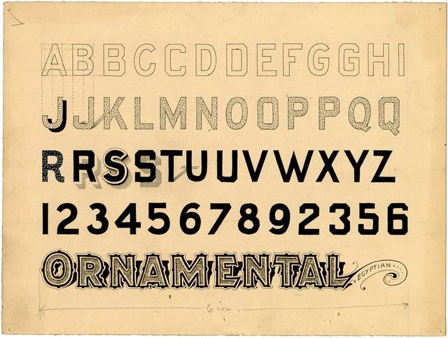 original ink design sketch of Ornamental Egyptian alphabet
