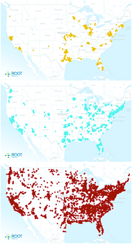 From top, LTE coverage maps from RootMetrics for Sprint, AT&T and Verizon. AT&T's network was the fastest by a clear margin.