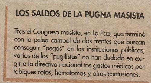 LOS SALDOS DE LA PUGNA MASISTA