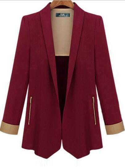 Wine Red Lapel Long Sleeve Fitted Blazer pictures