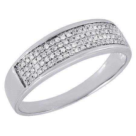 Jewelry For Less   Diamond 4 Row Wedding Band Mens 10K