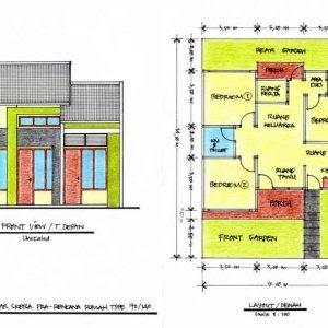 denah rumah ukuran 6x8 3 kamar - berbagai ukuran