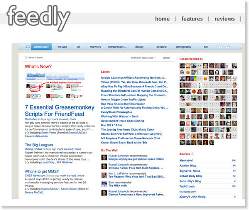 feedly: a more social and magazine-like start page