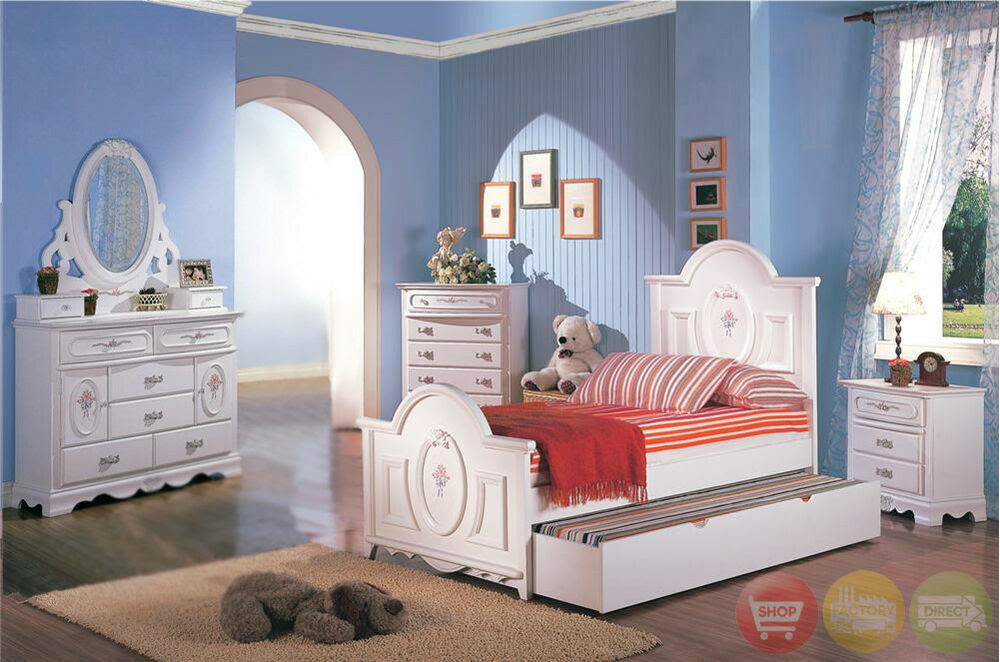 White Wood Girls Twin Bed Kids 4 Piece Bedroom Furniture ...