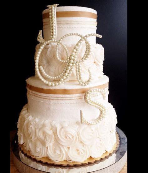 Ivory Pearl Wedding Cake Topper 3 Letter Monogram Set
