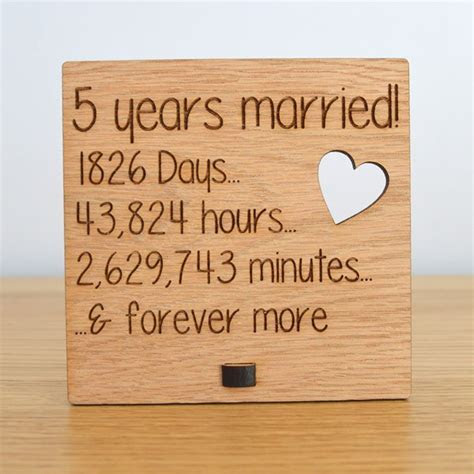 Wooden Wedding Anniversary Plaque Sign Days Hours Minutes