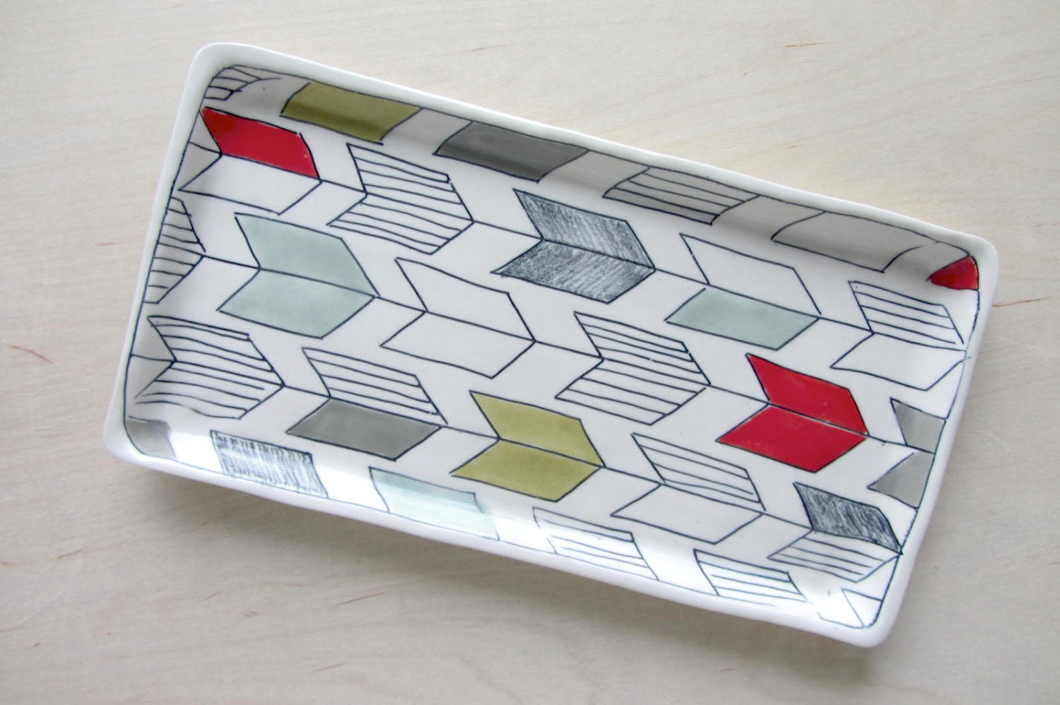 Large Arrow Tail Nesting Tray in Bold Tones - Made to Order