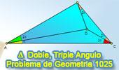 Problema de Geometría 1025 (English ESL): Triangulo, Angulo Doble y Triple