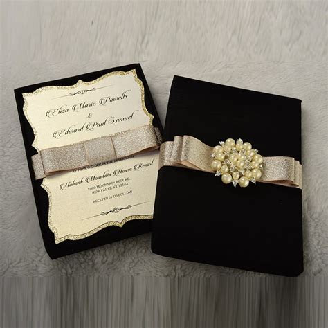 Couture Wedding Invitation Box with pearl brooch