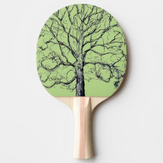 Green Sketched Tree Paddle Ping Pong Paddle