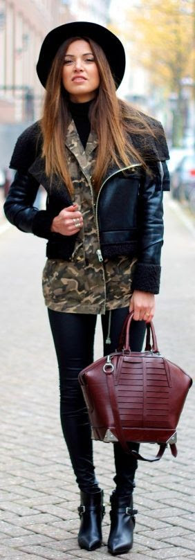 #Leather And #Camoflage by Negin Mirsalehi