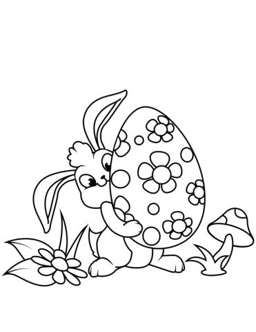cute easter bunny and egg coloring page  free printable coloring pages