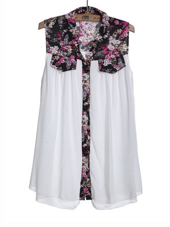 Loose Floral Chiffon Sleeveless Blouse