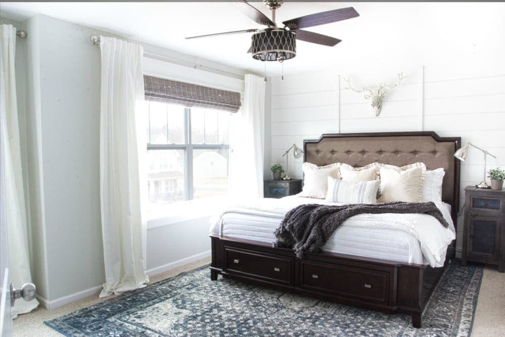 New Blue Vintage Rug in the Master Bedroom | www.blesserhouse.com