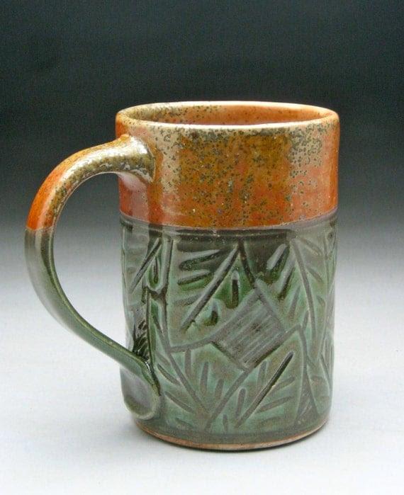 Beer Mug with Hand Carved Leaf Design