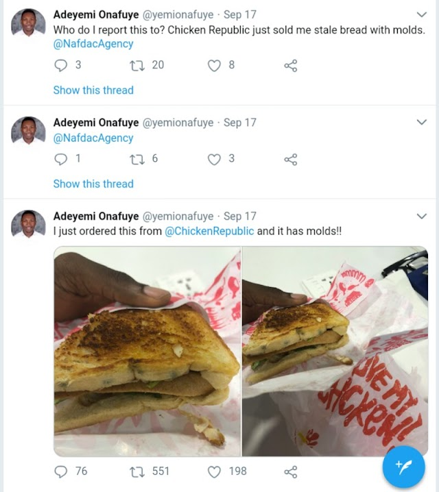 Man Ordered Stale Bread From Chicken Republic. See What He Got (Photos)