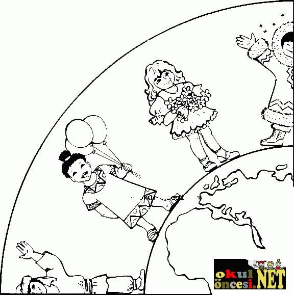 Komik Fipixde Konu 23 Nisan Dünya çocukları Boyama Sayfaları