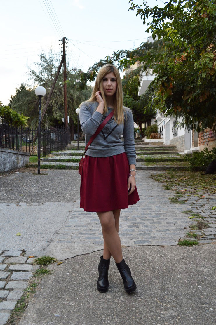 burgundy dress grey sweater8