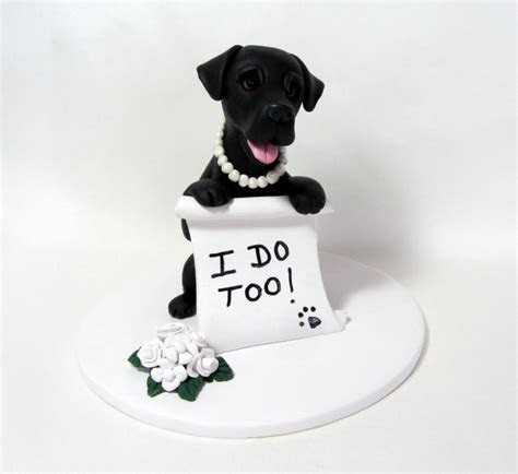 Custom Made Dog Wedding Cake Topper Clay Sculpture Black