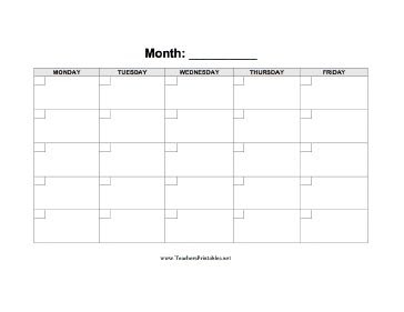 A blank calendar displaying a five-day week with boxes in which to ...