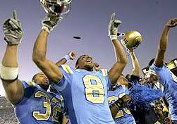 The UCLA Bruins emerge victorious against USC, 13-9, at the Rowl Bowl in Pasadena, CA.