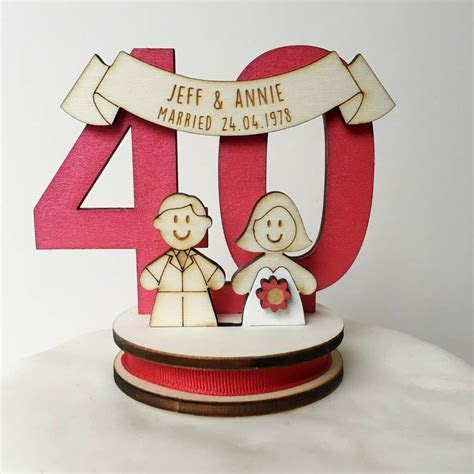 personalised 40th anniversary cake topper by just toppers