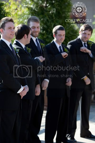 Groomsmen at Grove Park Inn, Groom waiting for bride to walk down the aisle at wedding at the Grove Park Inn