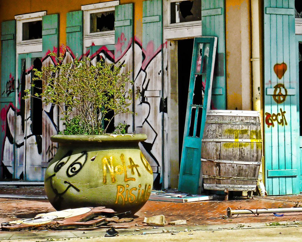 graffiti - signs of life after Katrina ripped amusement from park six flags new orleans