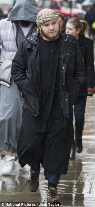 Ringleader: Jordan Horner, known as Jamal Uddin, pictured arriving at court today where he was one of three men given Asbos banning them from promoting Sharia law for five years