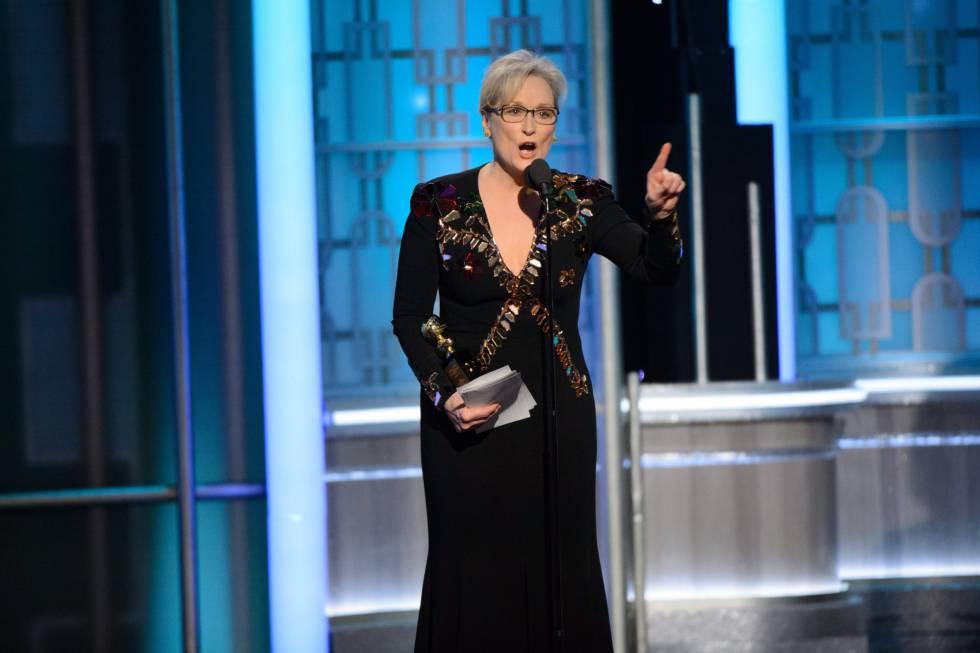 Meryl Streep, en la ceremonia de los Globos de Oro, en la que criticó a Donald Trump, el pasado lunes.