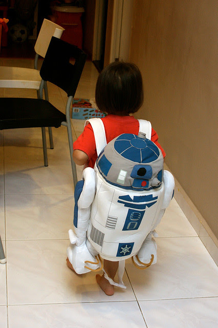 Jolie and her R2-D2 backpack