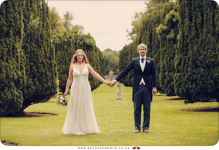 Bride and Groom, Aisle of Trees, Glemham Hall Wedding Photography Suffolk - Hello Romance