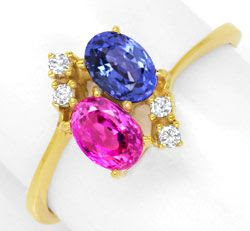 Original-Foto 1, DIAMANTRING SPITZEN-RUBIN, SUPER-SAFIR, 18K GOLD LUXUS!, S6730