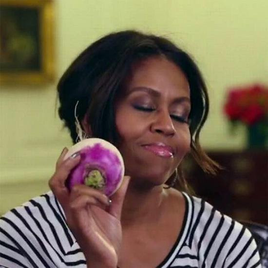 Michelle Obama with turnip (turn up) | Tacky Harper's Cryptic Clues