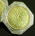 Art Deco cufflinks with rose garlands. (J9461)