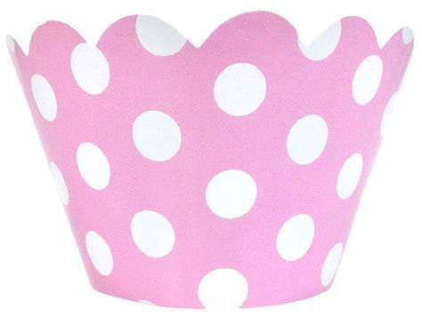 Cupcake Wrapper 20pcs Baby Pink with White Polka Dots