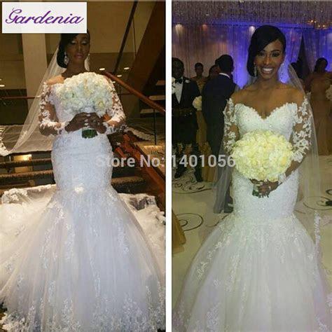 Real Customer Show Long Sleeve Satin Wedding Dress Mermaid
