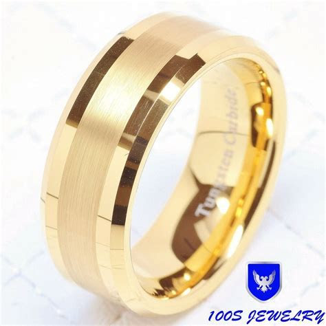 Mens Tungsten Carbide Ring Wedding Band 14k Gold 8mm