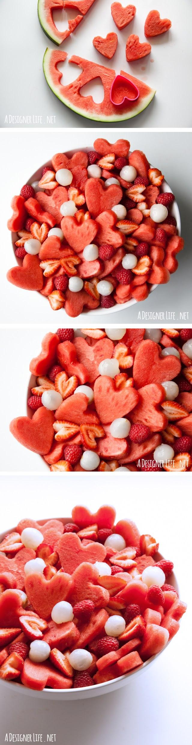 Sevgililer Günü için Karpuz kalp meyve salatası - kalp şeklinde çerez kesici ile yapılmadı!