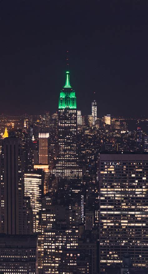 landscape  york night scene empire state building