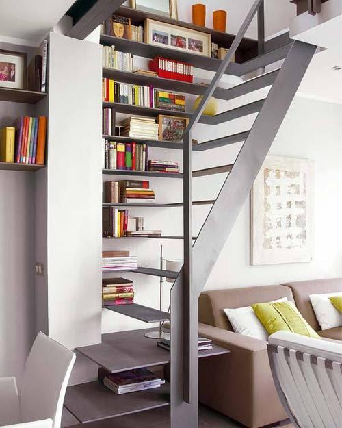 Foto gambar desain tangga yang inovatif, unik, elegan.