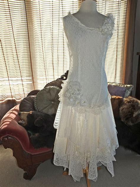 Flapper 1920s Wedding Dress Handmade Lace By