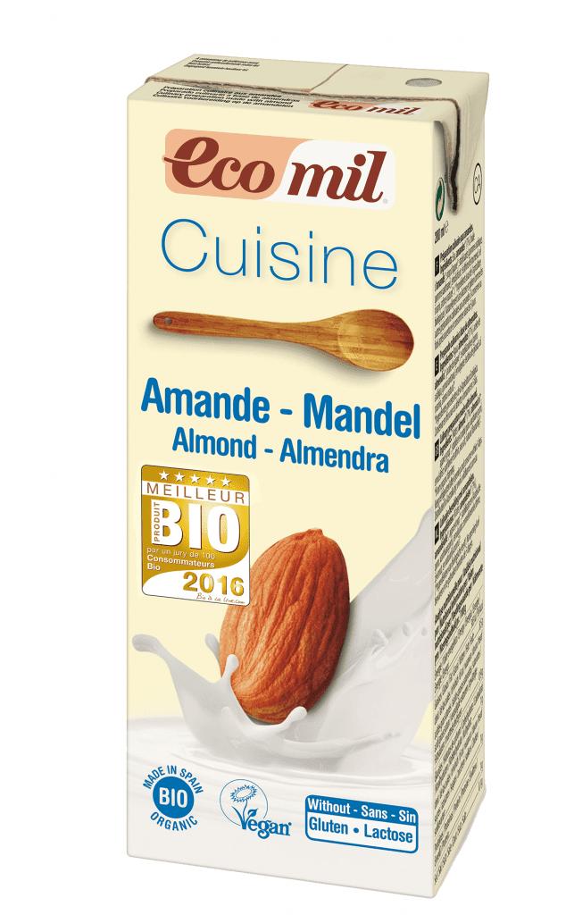 Ecomil crème cuisine amande bio meilleur produit bio 2016 crème végétale sans lactose